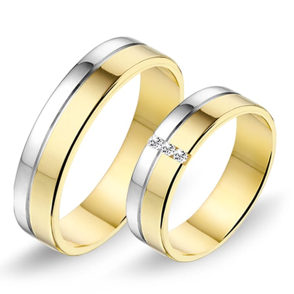 624 / 625 - Alliance bi-color trouwringen
