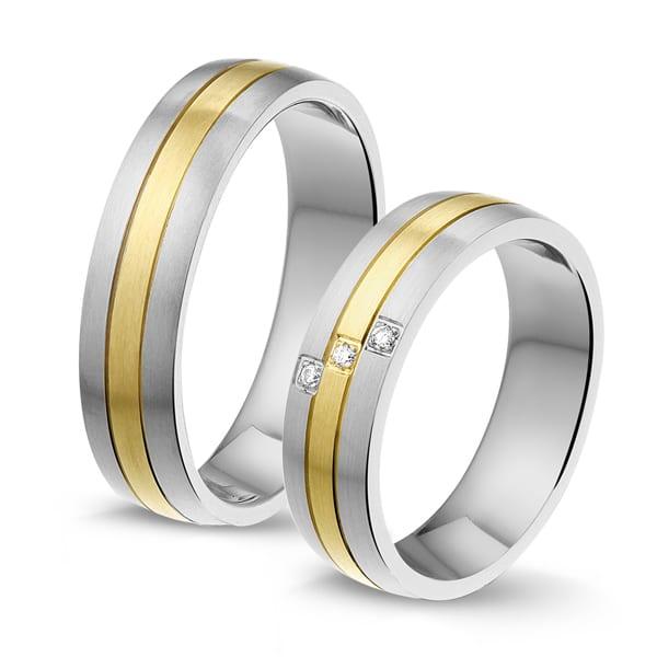 STG244 - Alliance edelstaal/gouden trouwringen