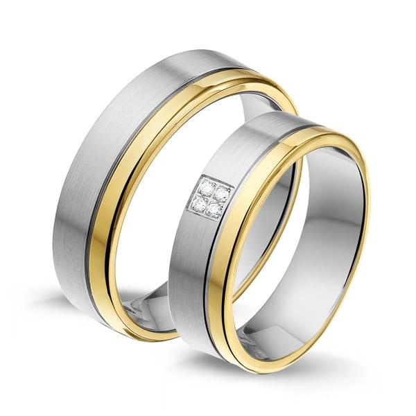 STG470 - Alliance edelstaal/gouden trouwringen