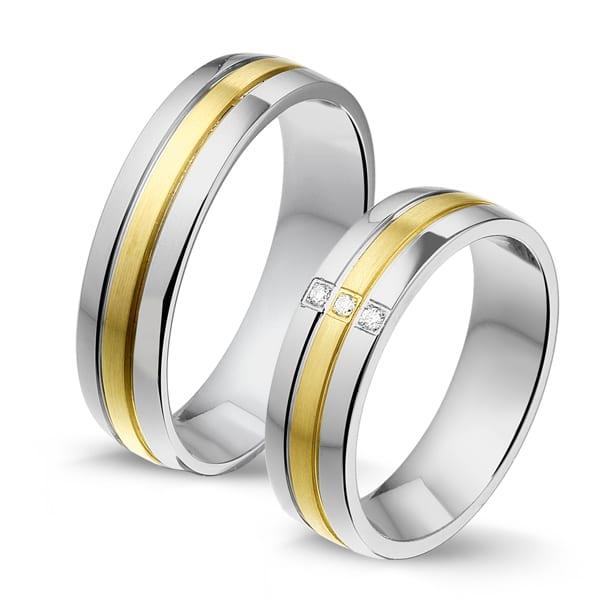 STG603 - Alliance edelstaal/gouden trouwringen