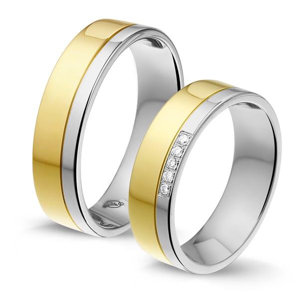 STG624 - Alliance edelstaal/gouden trouwringen
